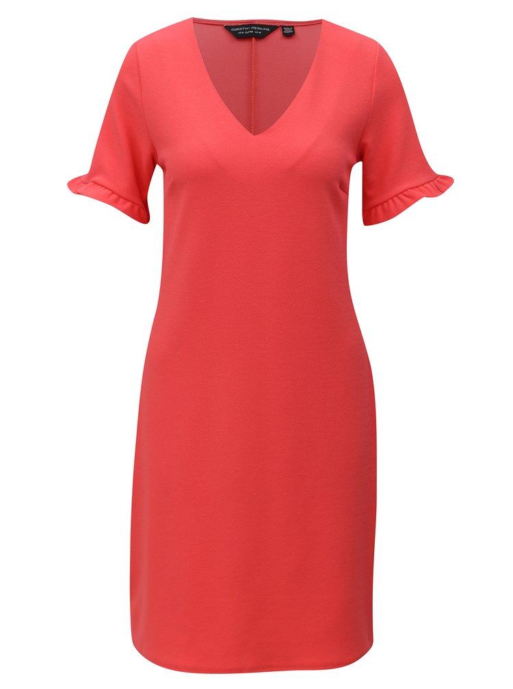 Korálové rovné šaty s volánmi Dorothy Pekrins