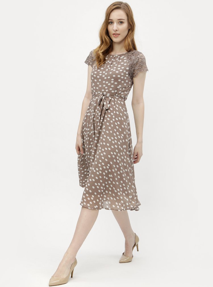 4bdc54fe4666 ... Svetlohnedé bodkované šaty s čipkou M Co