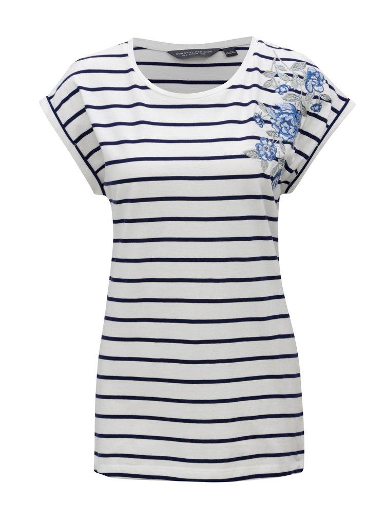 Modro-bílé pruhované tričko s výšivkou Dorothy Perkins Tall
