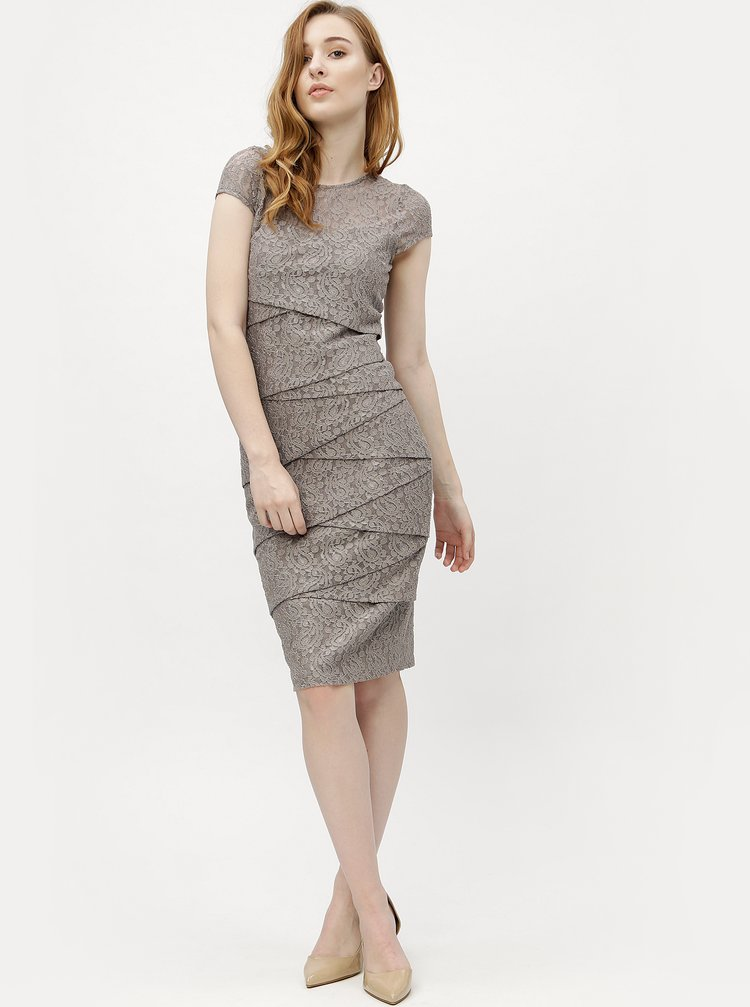 Světle hnědé krajkové pouzdrové šaty M&Co