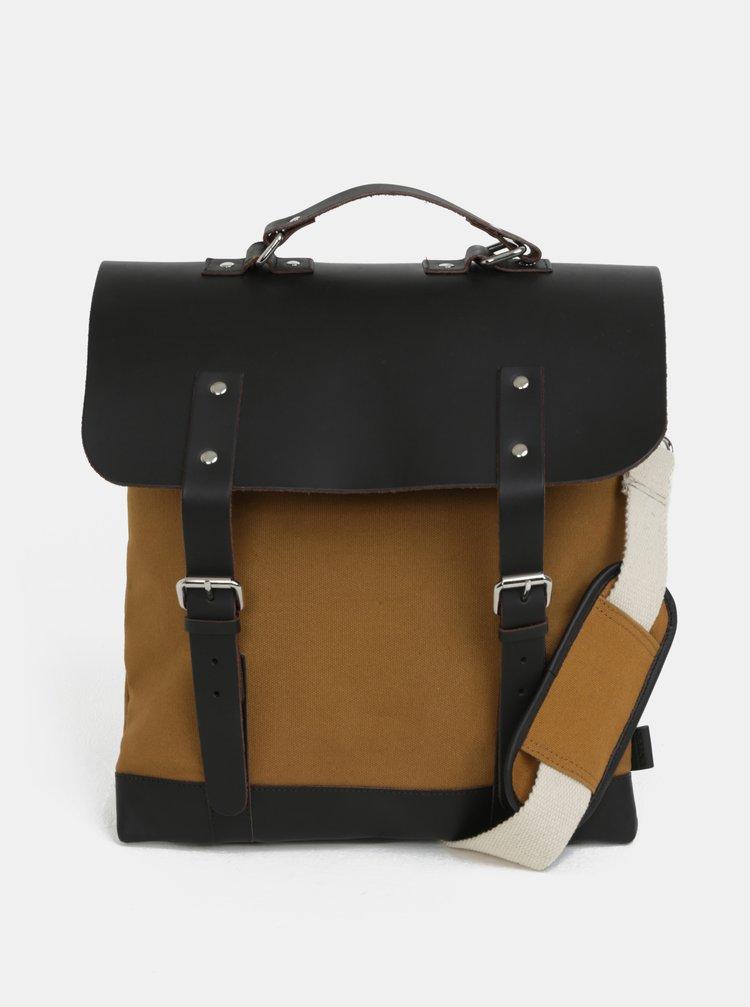 Hořčicový batoh/taška s koženými detaily Enter Messenger Tote 12 l