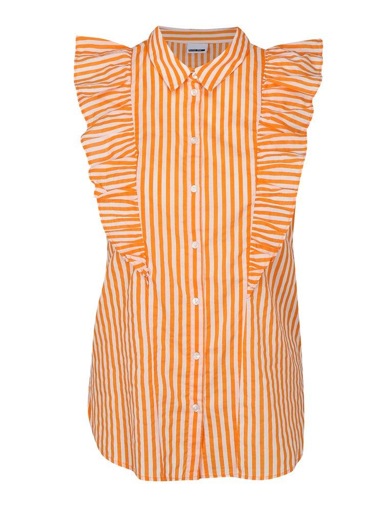 Oranžovo-bílá pruhovaná halenka s volány Noisy May Jack