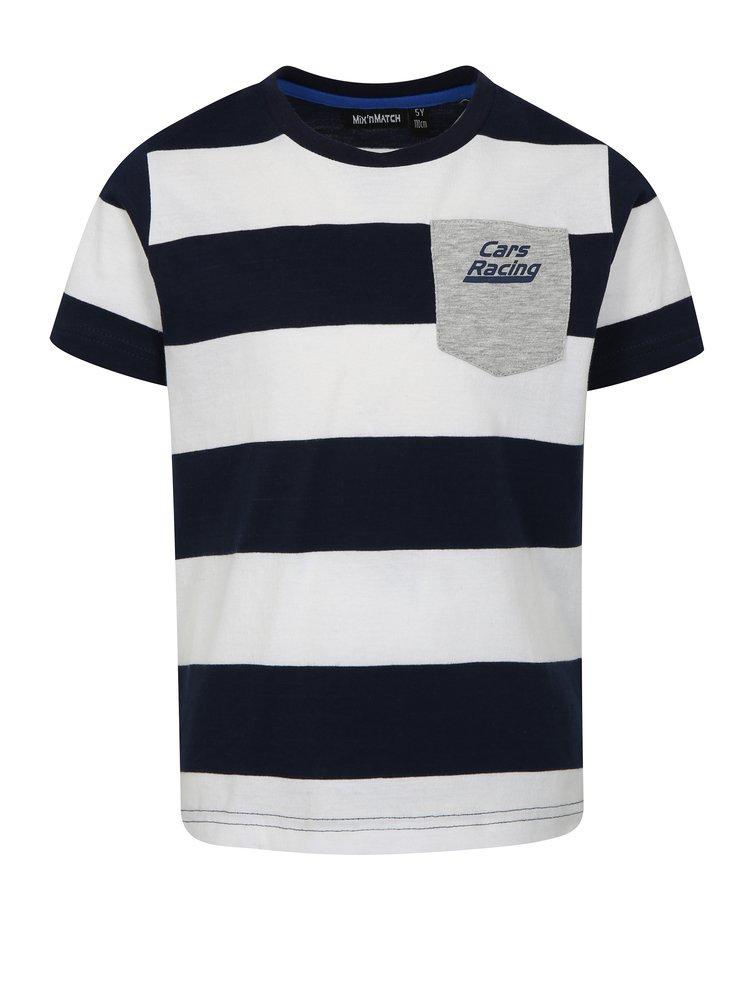 Modro-bílé klučičí pruhované tričko Mix´n Match