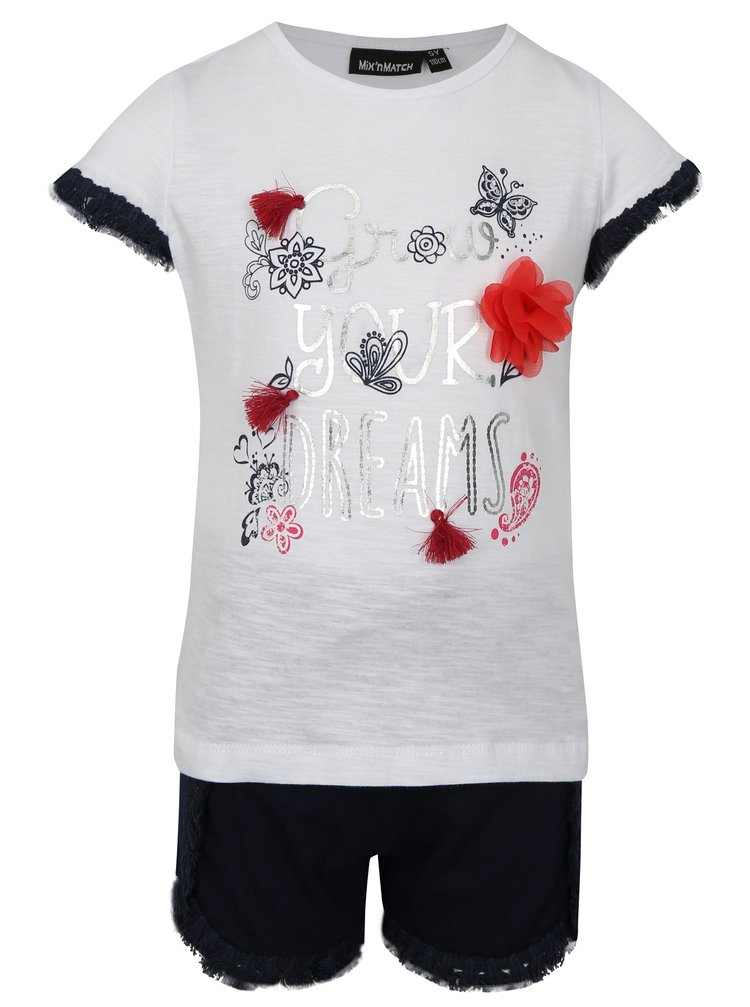 Modro-bílá sada holčičího trička s kraťasy Mix´n Match