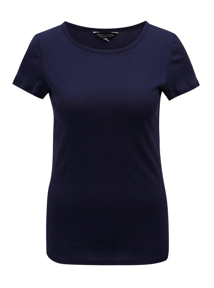 Tmavě modré basic tričko s krátkým rukávem Dorothy Perkins