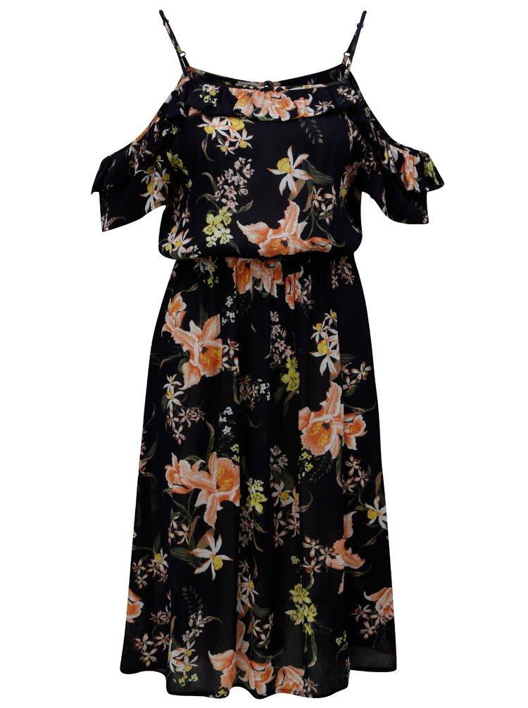 Tmavomodré kvetované šaty s odhalenými ramenami Dorothy Perkins