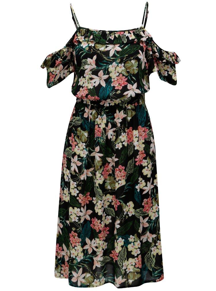 Rochie neagra cu model floral si decolteu pe umeri Dorothy Perkins