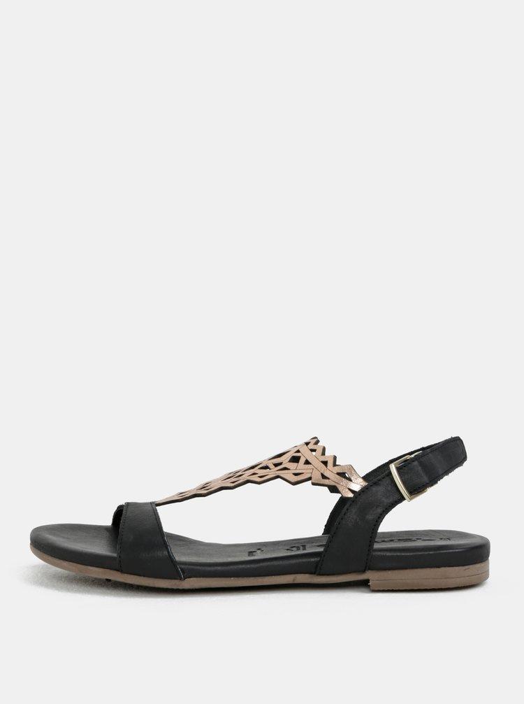 Černé kožené sandály se zdobením Tamaris