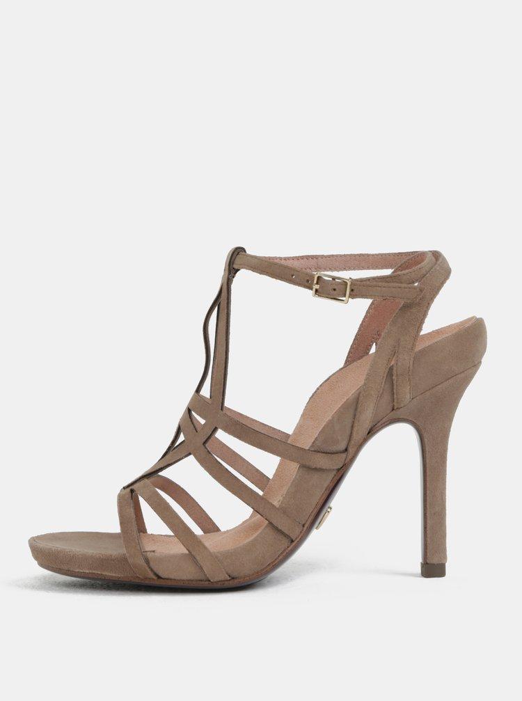 Sandale maro deschis din piele intoarsa Tamaris