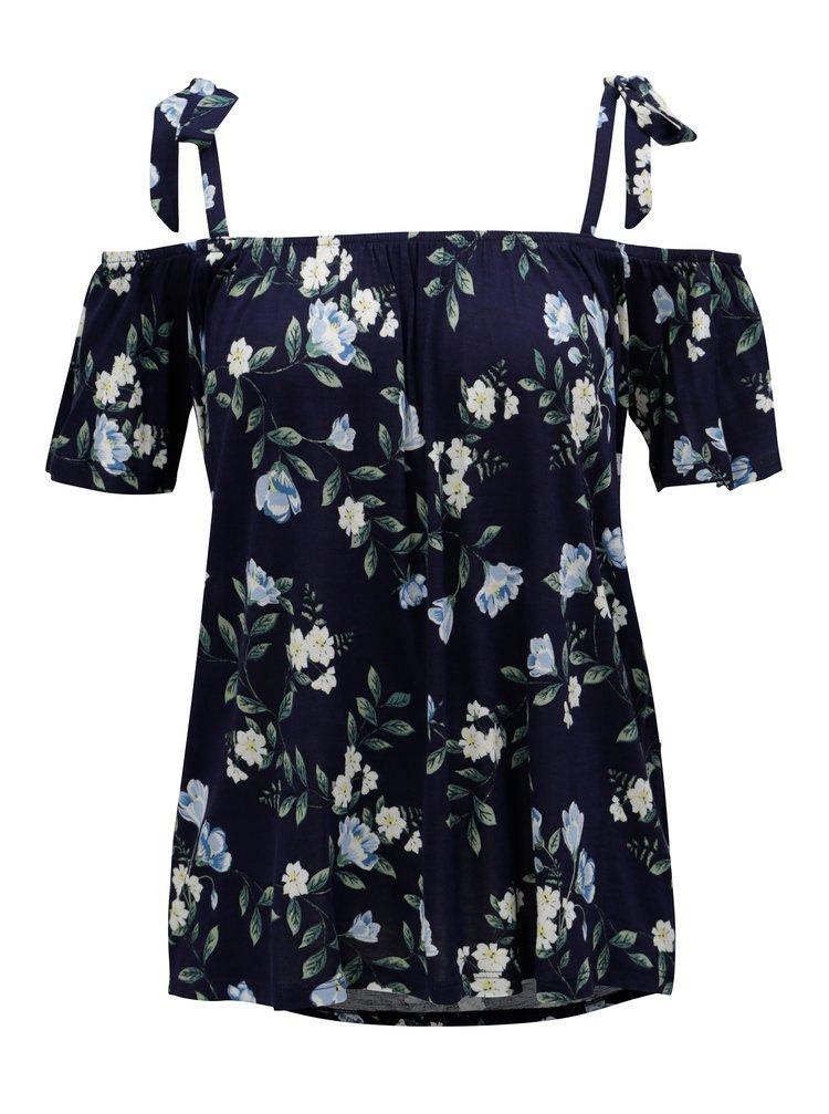 Tmavě modré květované tričko s odhalenými rameny Dorothy Perkins