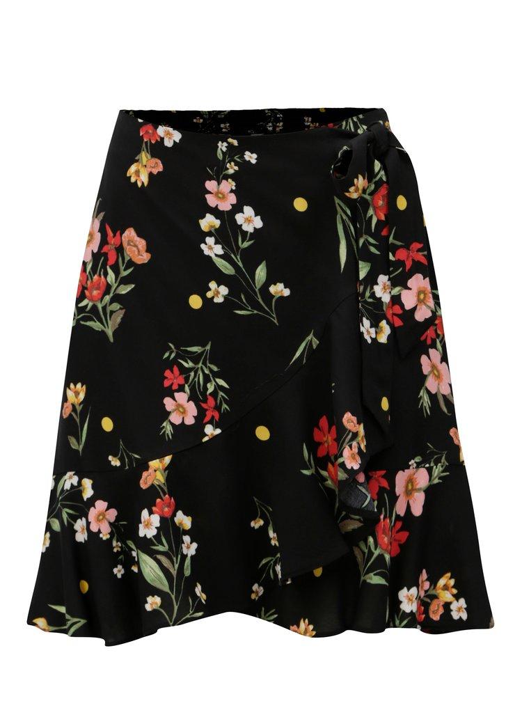 Černá květovaná sukně s překládanou přední částí Dorothy Perkins