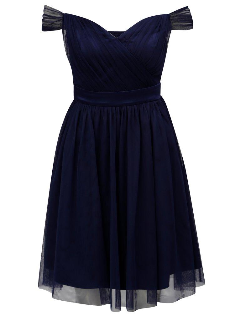 Rochie albastru inchis din tulle cu decolteu pe umeri Dorothy Perkins