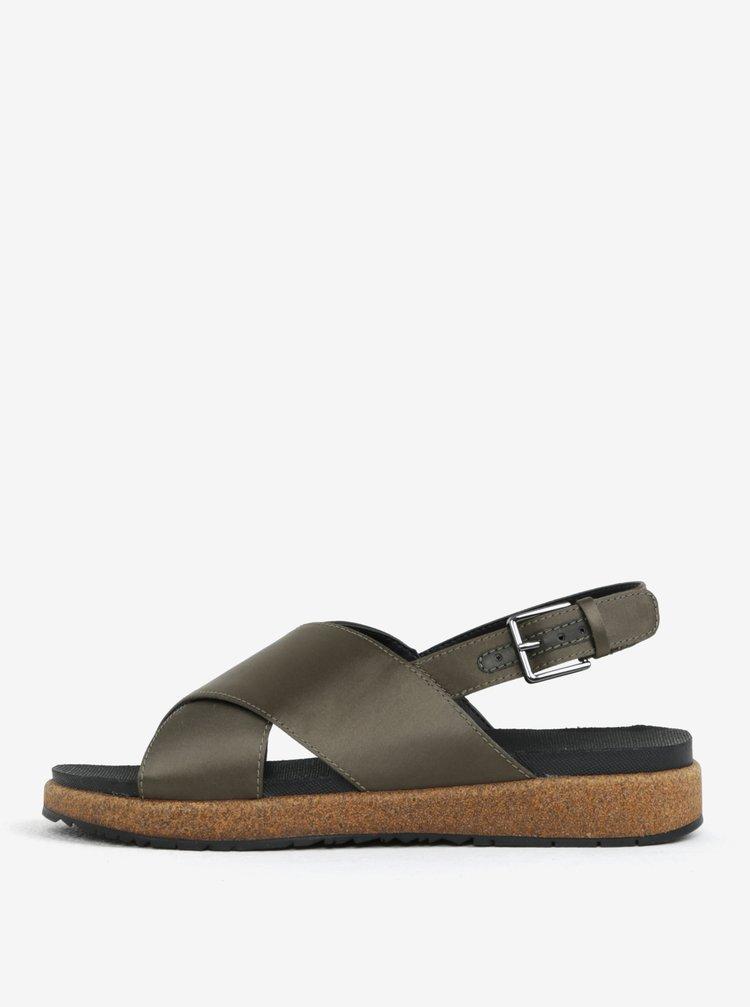 Tmavě zelené dámské metalické sandály Woden Sille
