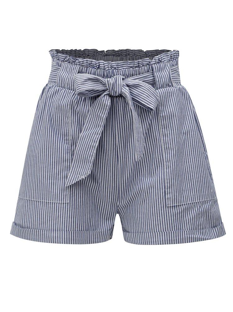 Pantaloni scurti alb-albastru in dungi cu talie inalta ONLY Divinu