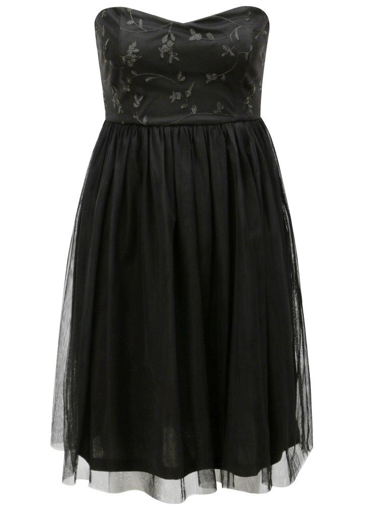 Černé tylové šaty s průstřihem na zádech ONLY Juhlia