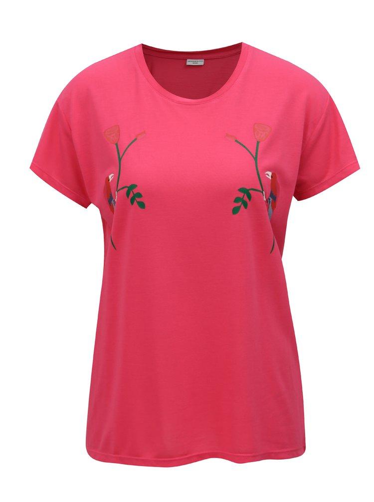 Tricou roz cu print Jacqueline de Yong Nixon