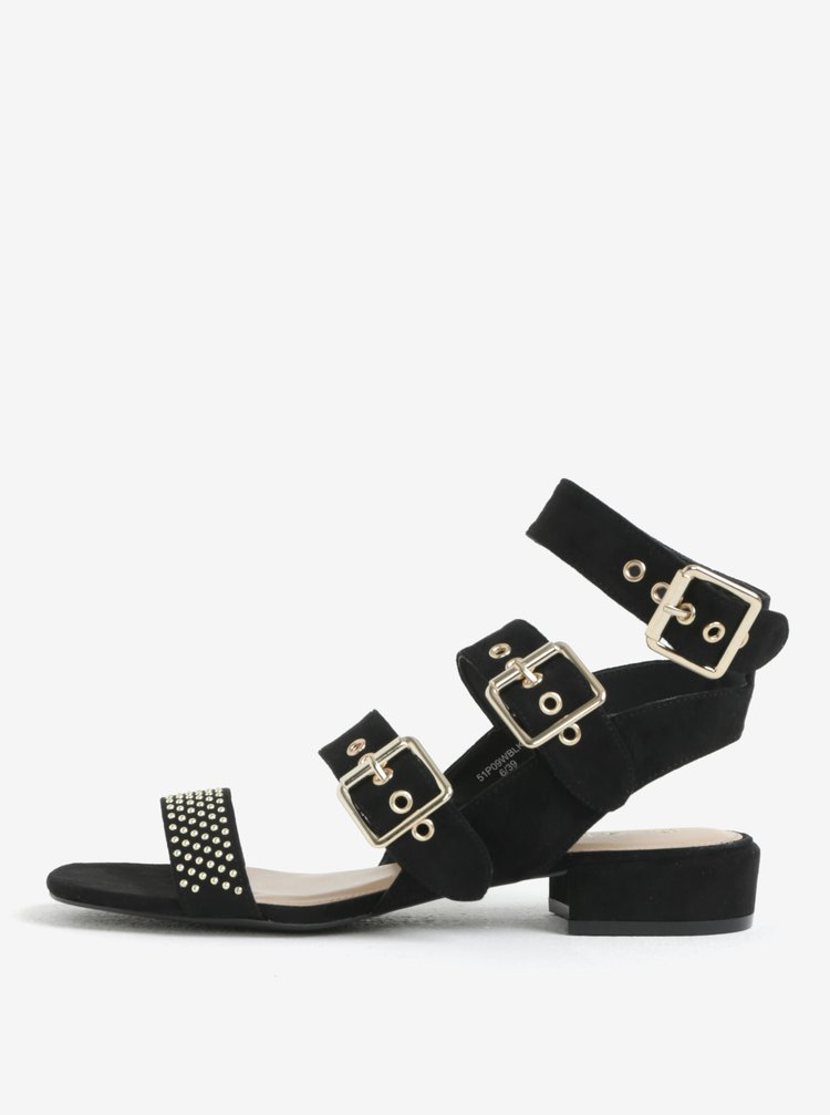 Černé sandály v semišové úpravě s detaily ve zlaté barvě Miss Selfridge
