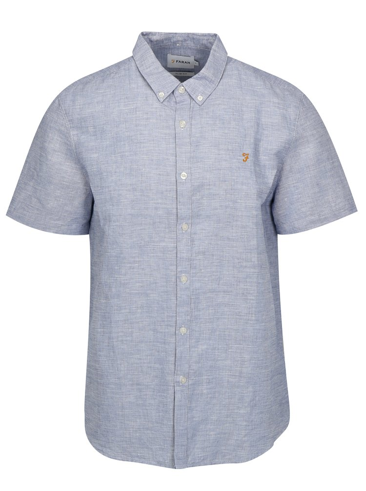 Modrá lněná slim fit košile Farah Bresson