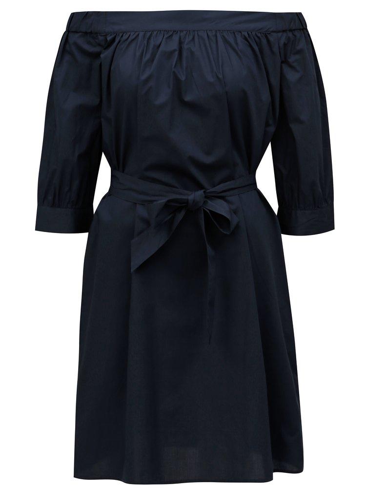 Tmavě modré šaty s odhalenými rameny Selected Femme Nadine