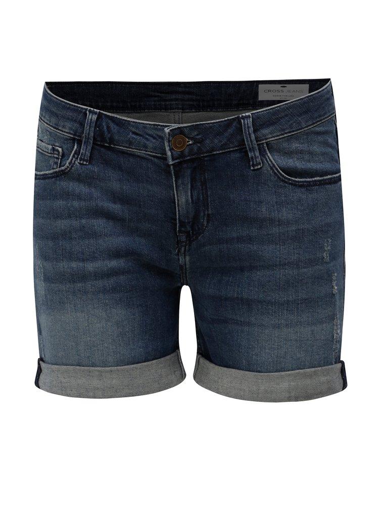 Tmavě modré dámské džínové regular short kraťasy Cross Jeans