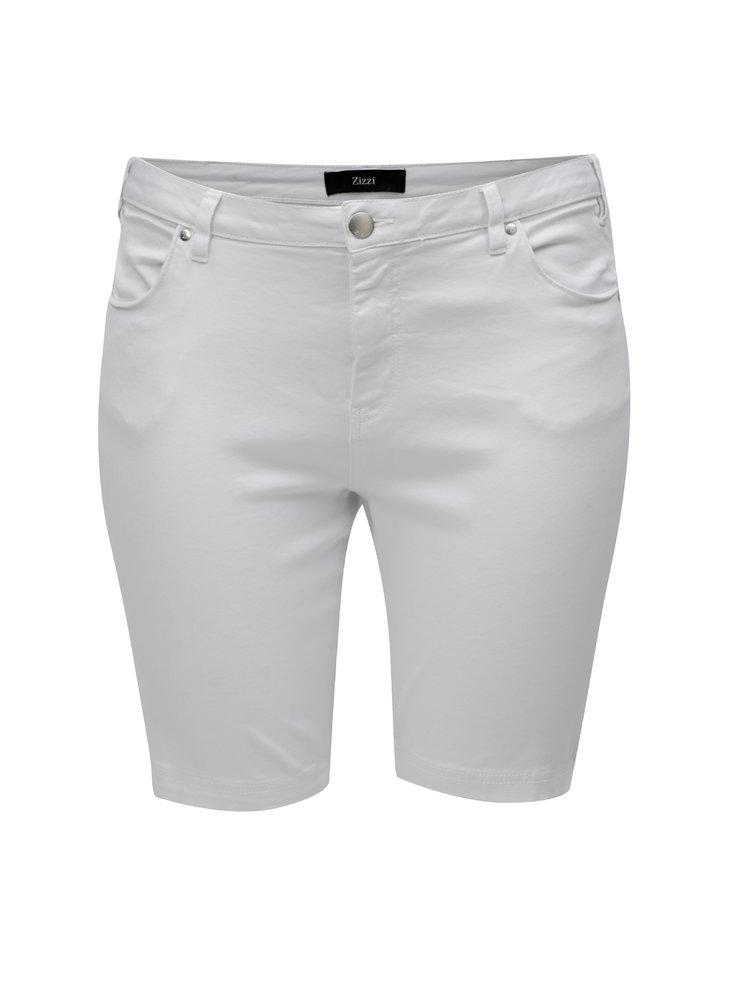 Bílé džínové slim kraťasy Zizzi
