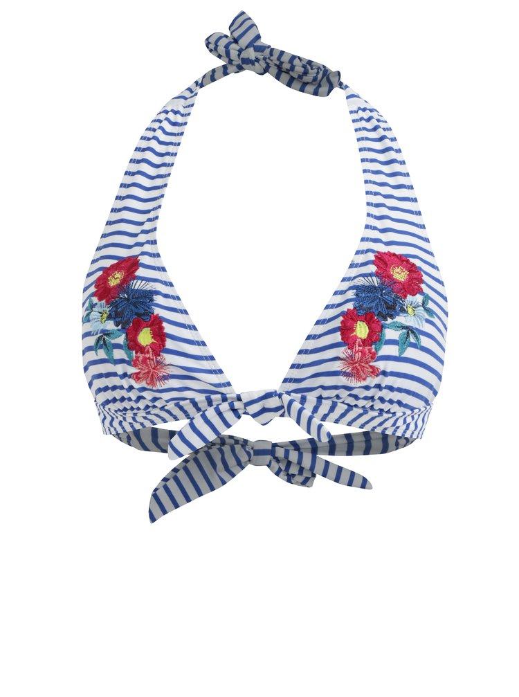 Modro-bíly pruhovaný horní díl plavek s výšivkou Dorothy Perkins