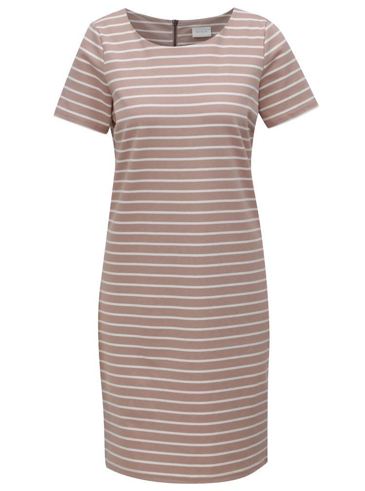 Starorůžové pruhované šaty VILA Tinny
