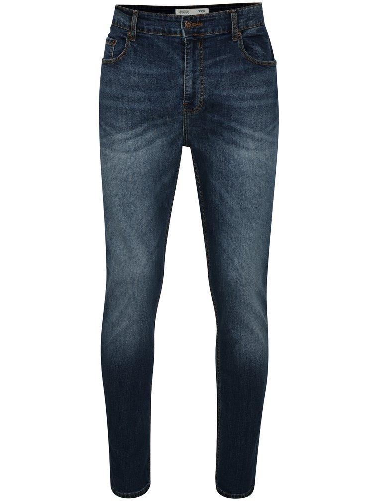 Blugi albastri regular fit din denim cu aspect prespalat Burton Menswear London