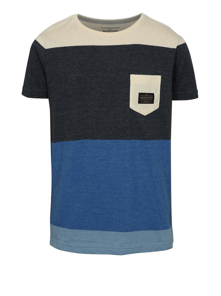 Šedo-modré klučičí modern fit tričko s kapsou Quiksilver