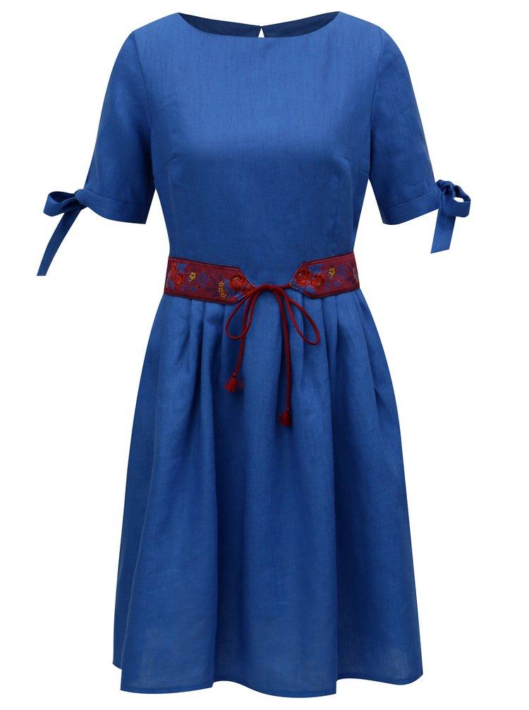 Modré lněné šaty Bohemian Tailors Fermina