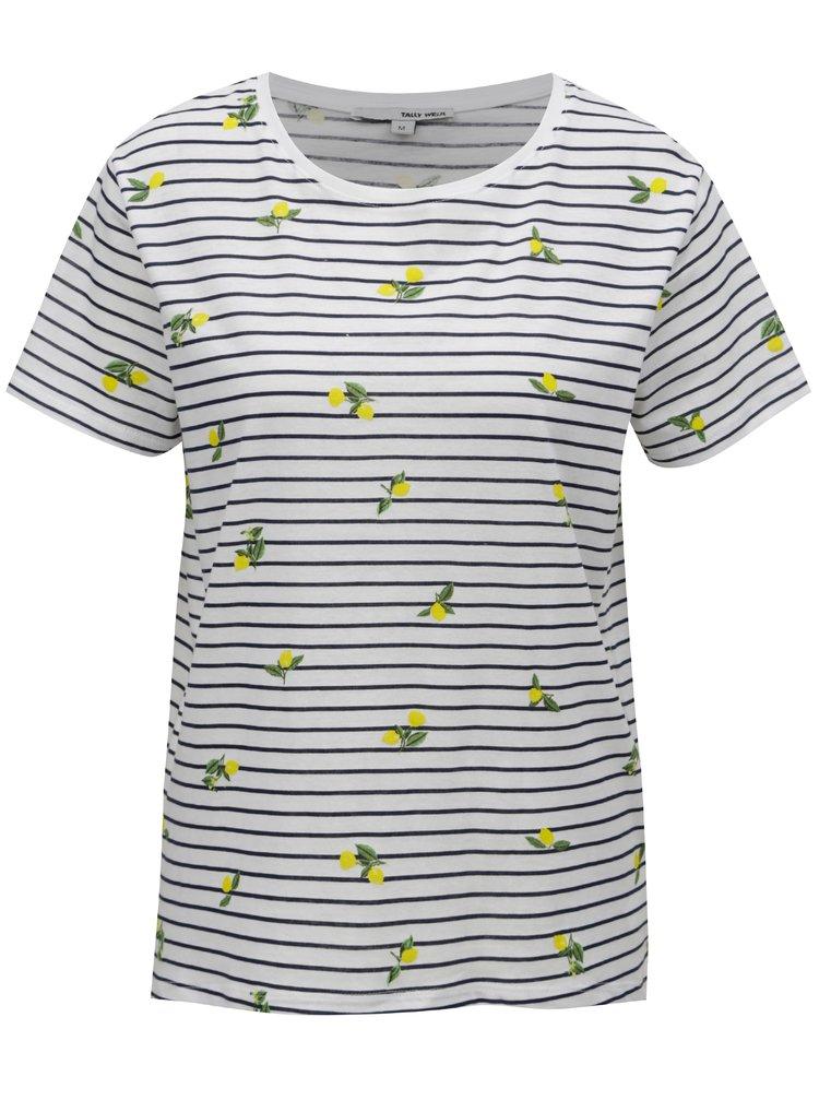 Bílé pruhované tričko s potiskem citrónů TALLY WEiJL