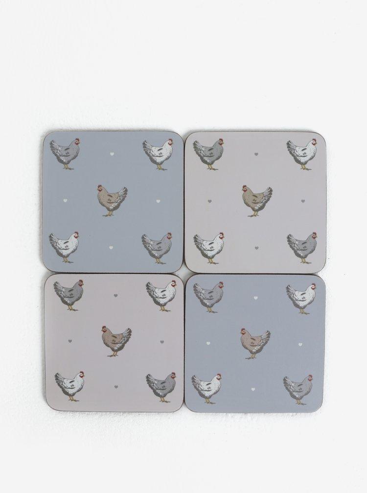Set de patru suporturi de pahare albastru cu motiv gaini Cooksmart