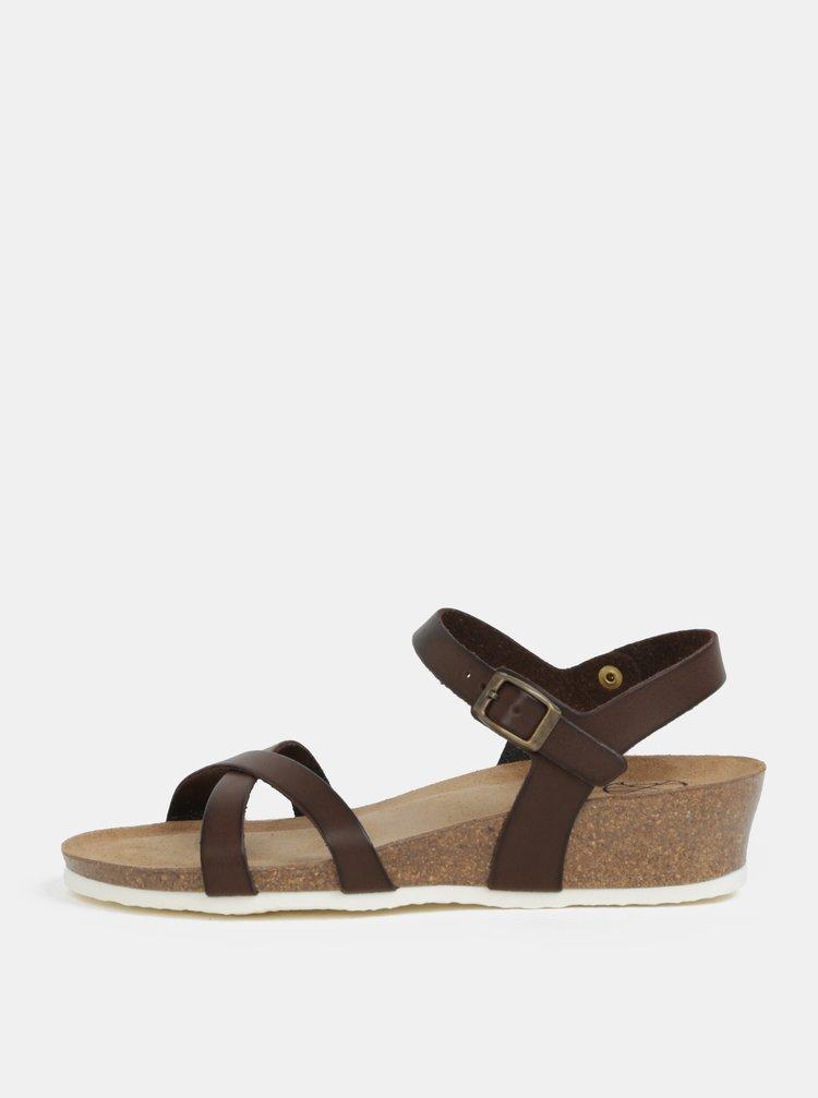 Tmavě hnědé sandálky na klínku OJJU