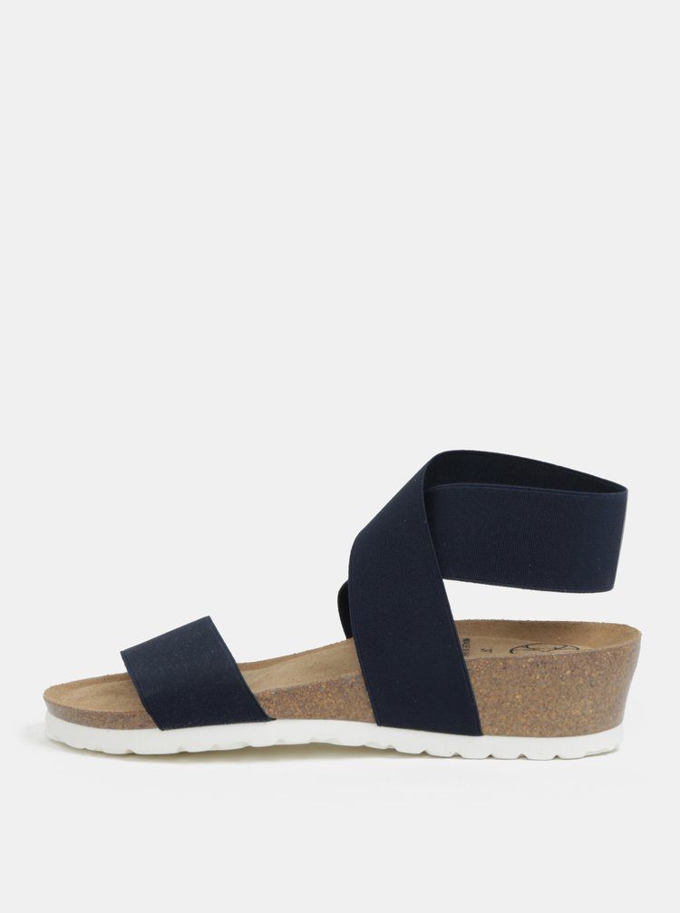 Sandale albastru inchis cu platforma wedge si barete elastice - OJJU