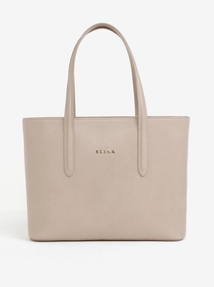Béžová kožená kabelka cez rameno ELEGA Simone