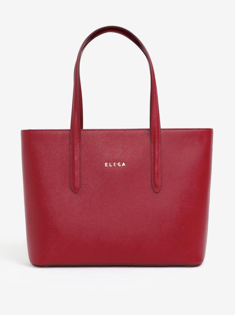 Červená kožená kabelka cez rameno ELEGA Simone