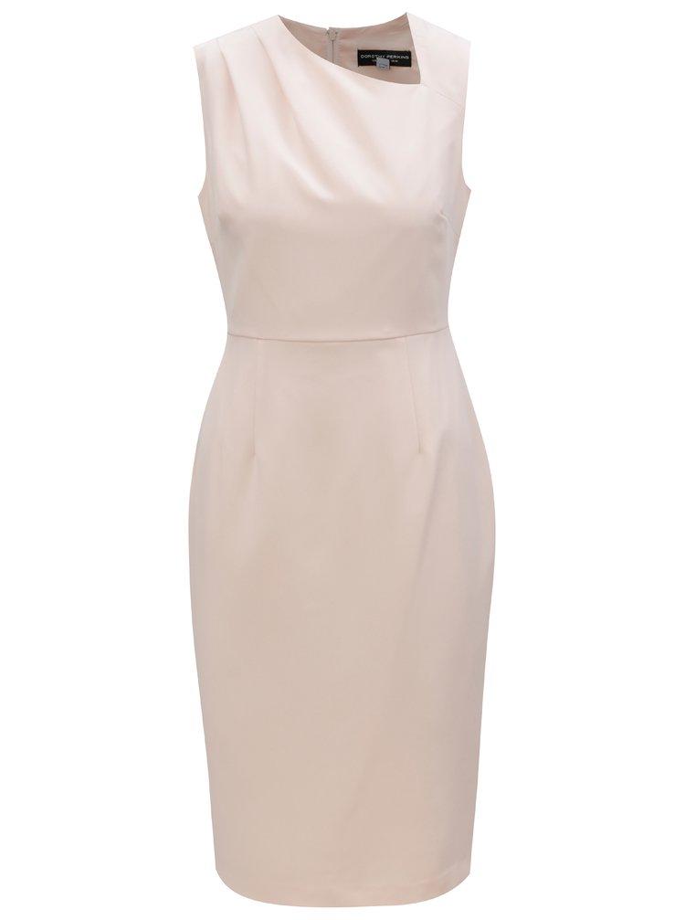 Svetloružové puzdrové šaty s asymetrickým výstrihom Dorothy Perkins