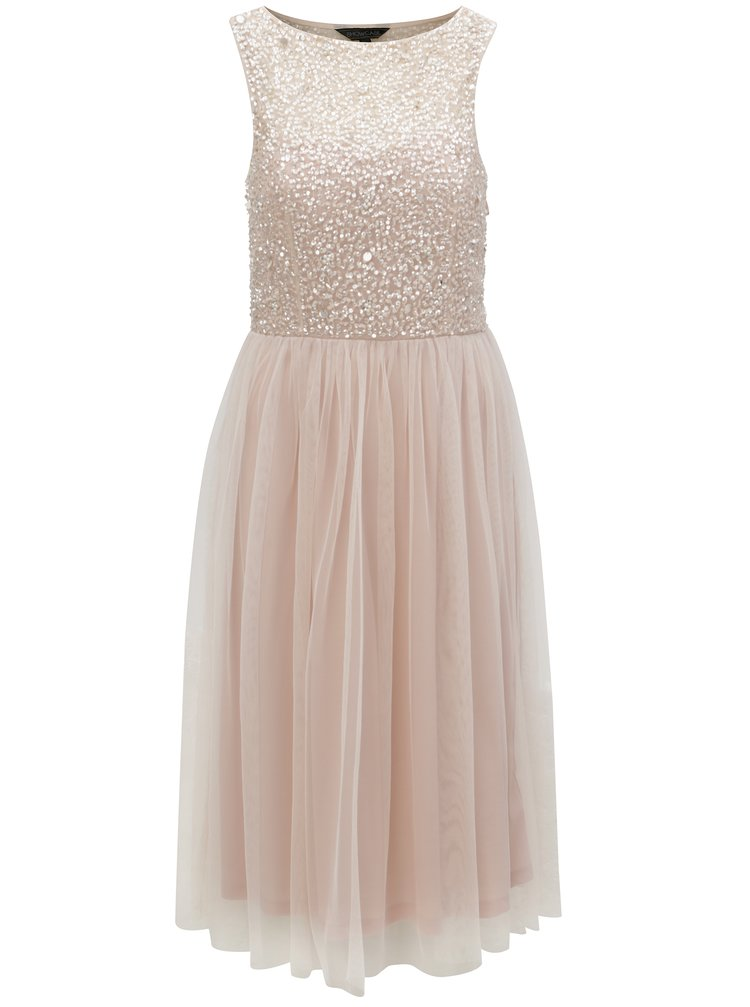Svetloružové šaty s flitrovaným topom Dorothy Perkins