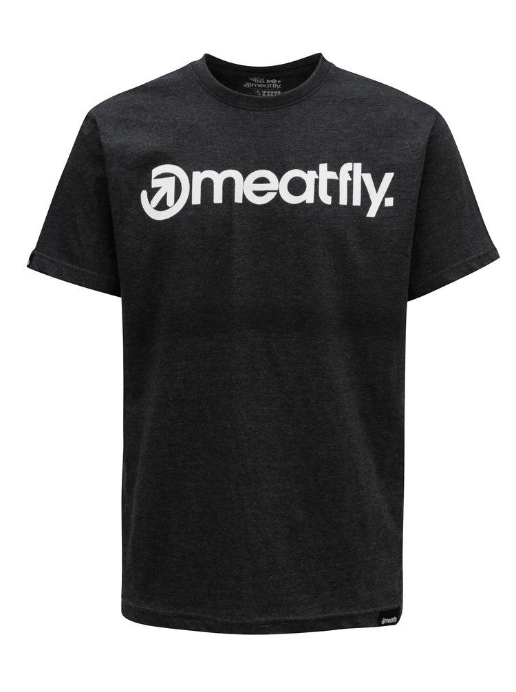 Tricou gri inchis pentru barbati MEATFLY Logo