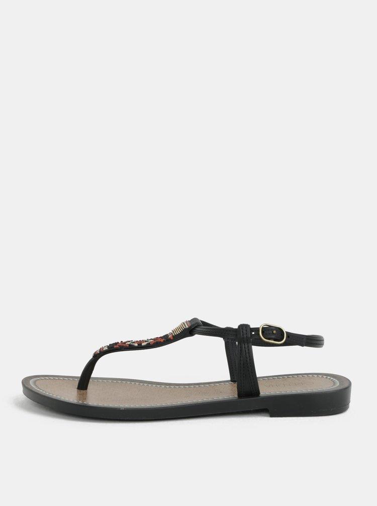 Hnedo-čierne sandále s aztéckym vzorom Grendha Acai