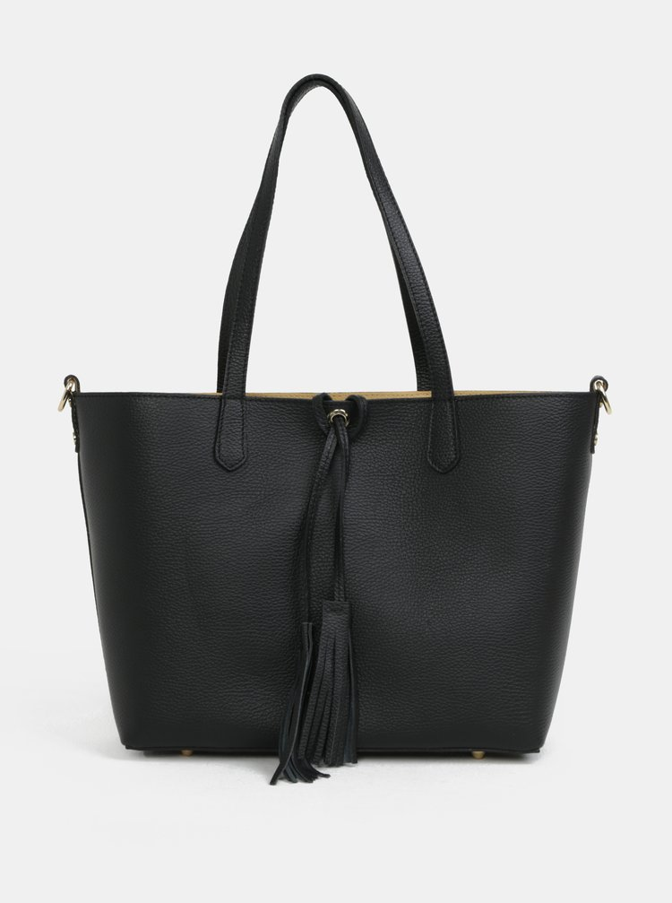 Černý kožený shopper s pouzdrem 2v1 ZOOT