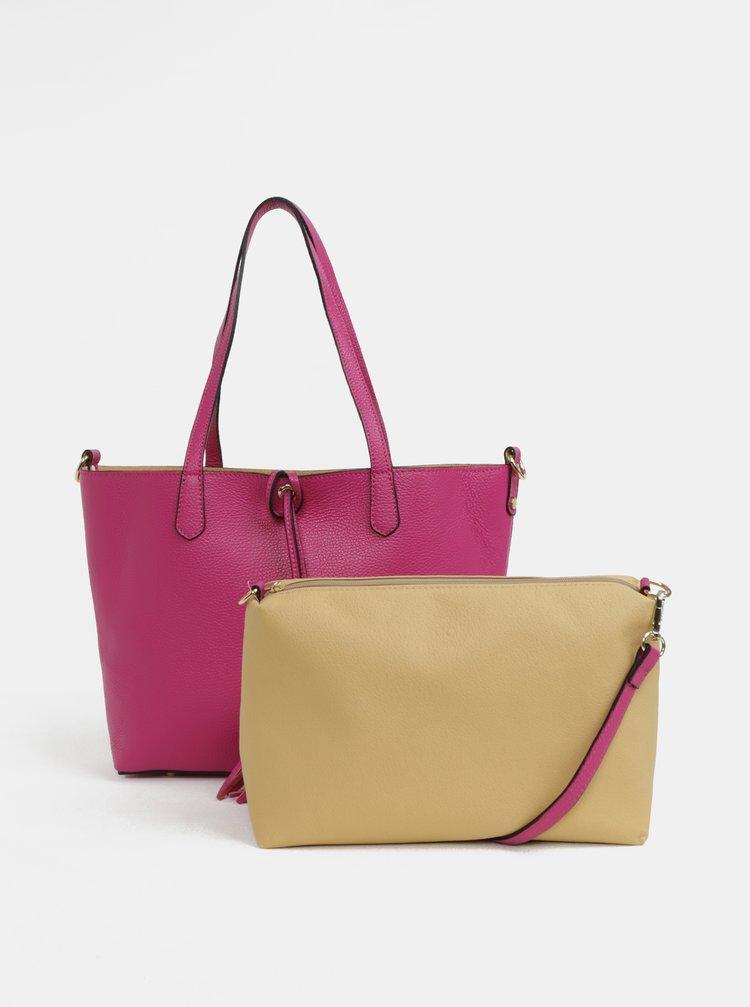 Geanta shopper roz din piele naturala cu portofel 2in1 ZOOT