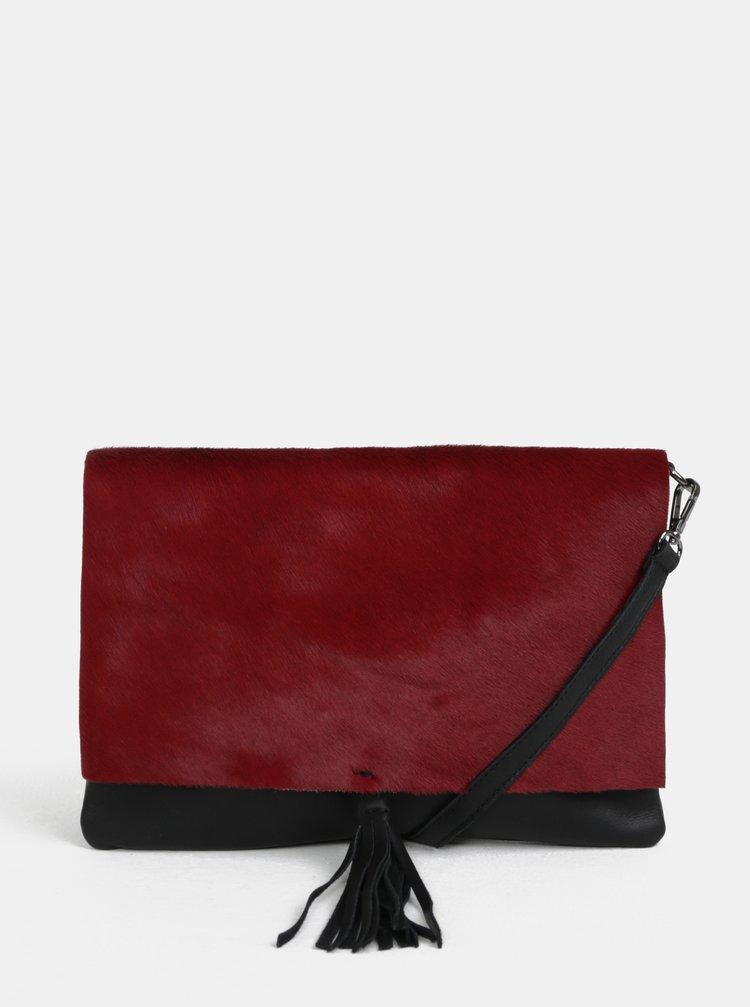 Černo-vínová kožená crossbody kabelka s kožešinovou klopou ZOOT