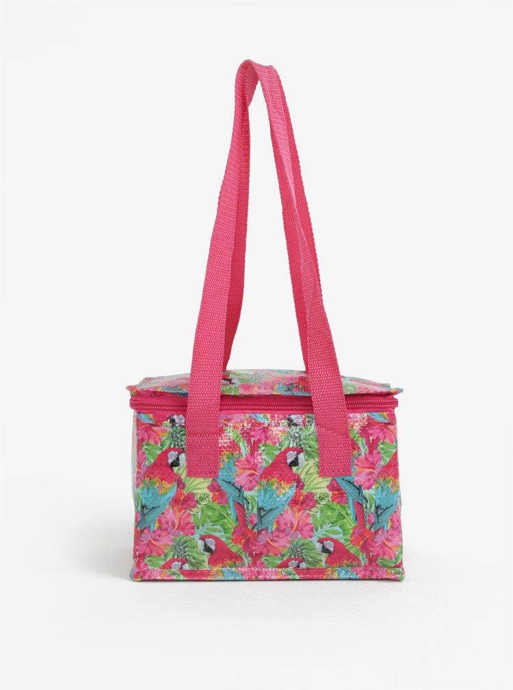 Růžová malá termo taška s motivem papoušků SIFCON