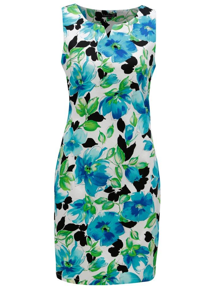 Bílo-modré pouzdrové květované šaty Smashed Lemon