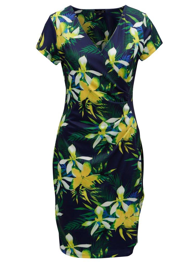 Zeleno-modré šaty s překládaným výstřihem Smashed Lemon
