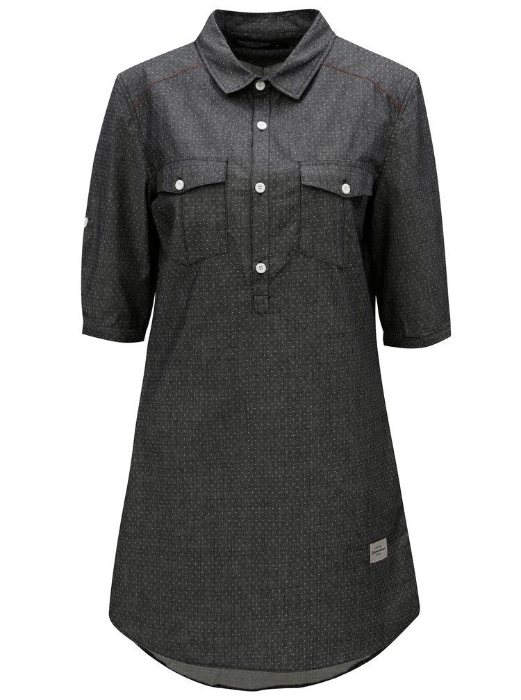 Tmavě šedé puntíkované košilové šaty Horsefeathers Bess