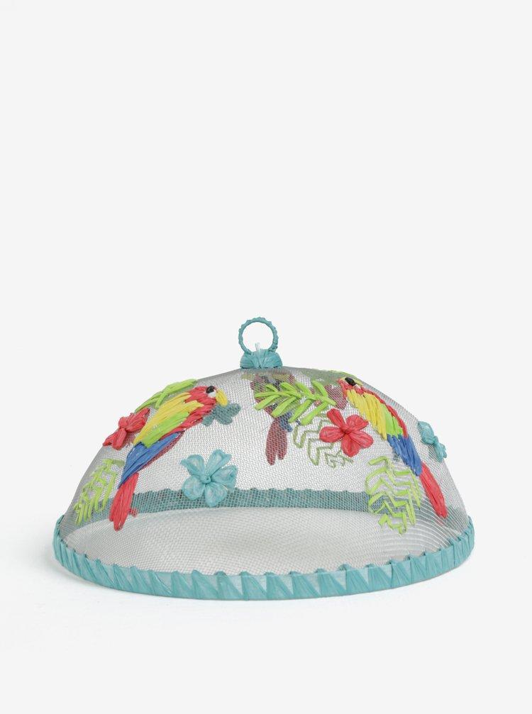 Modrý poklop na jídlo s motivem papouška SIFCON
