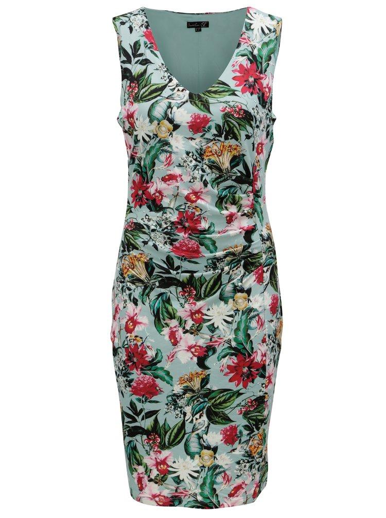 Růžovo-zelené květované šaty Smashed Lemon