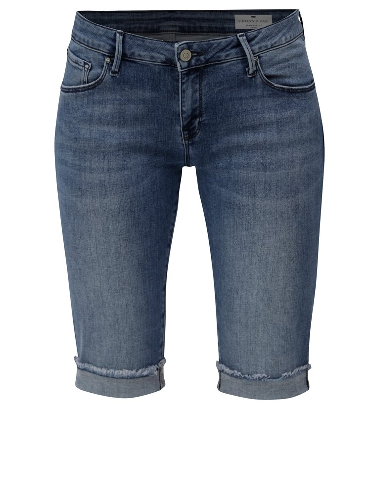 Modré dámské regular slim džínové kraťasy s nízkým pasem Cross Jeans